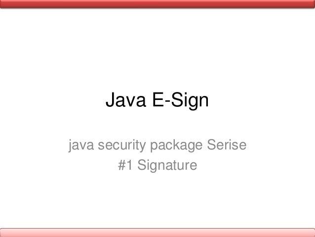Java E-Signjava security package Serise#1 Signature