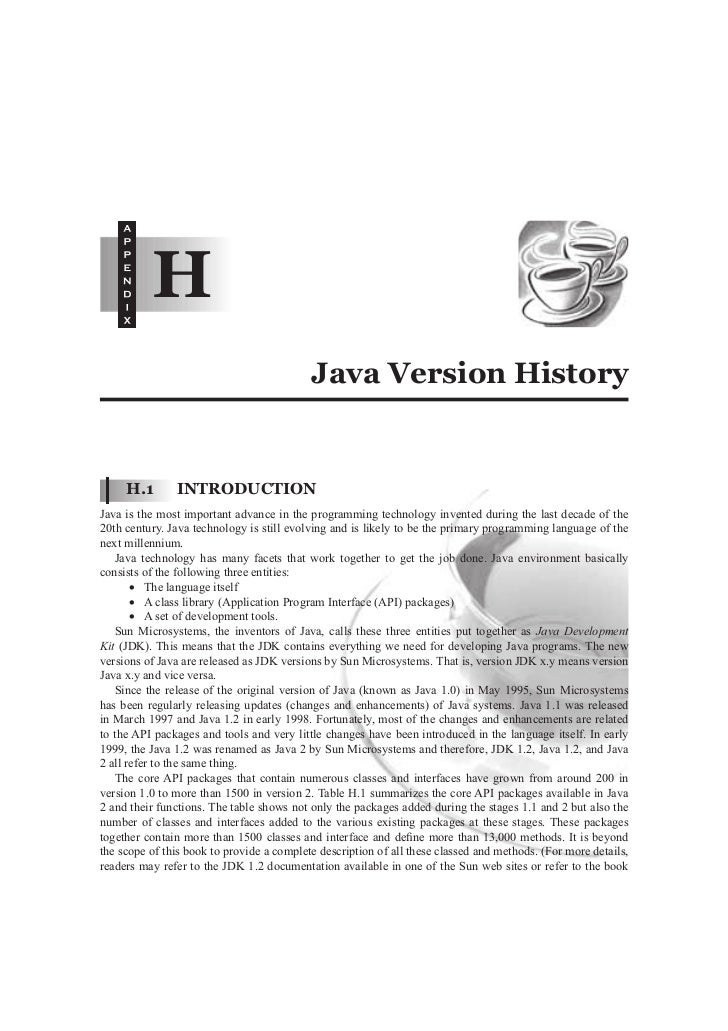H                                           Java Version History     H.1       INTRODUCTIONJava is the most important adva...