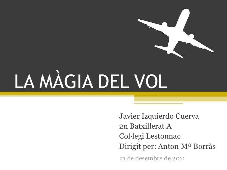 LA MÀGIA DEL VOL          Javier Izquierdo Cuerva          2n Batxillerat A          Col·legi Lestonnac          Dirigit p...