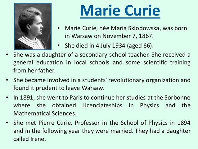 a biography of marie curie a scientist
