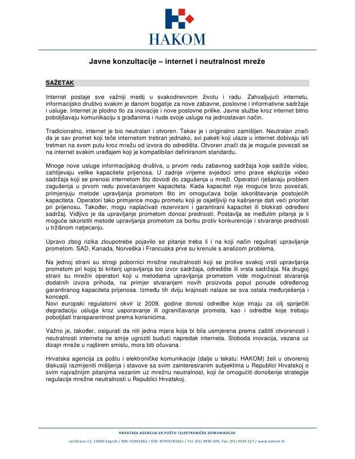 Javne konzultacije o mrežnoj neutralnosti
