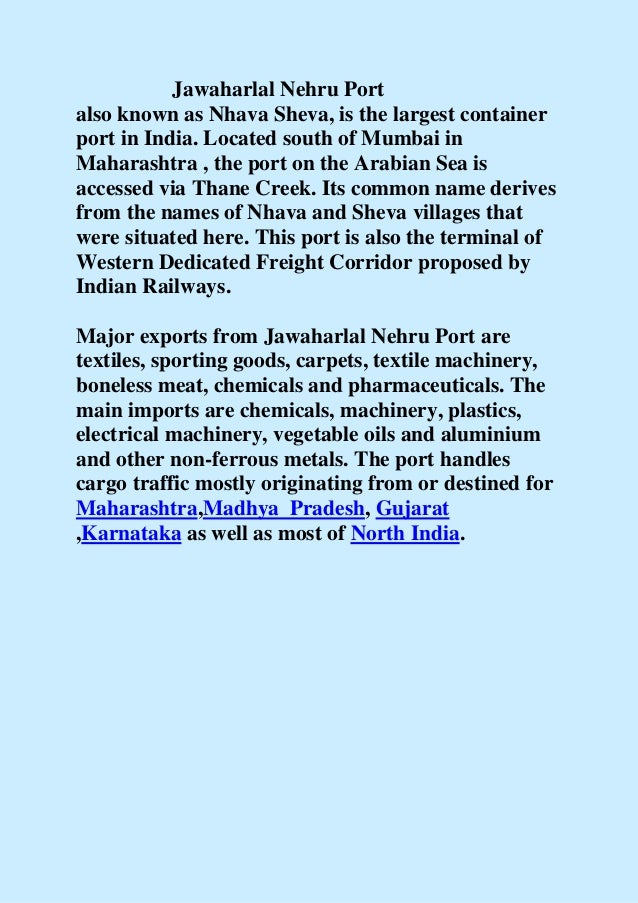 Jawaharlal nehru port.