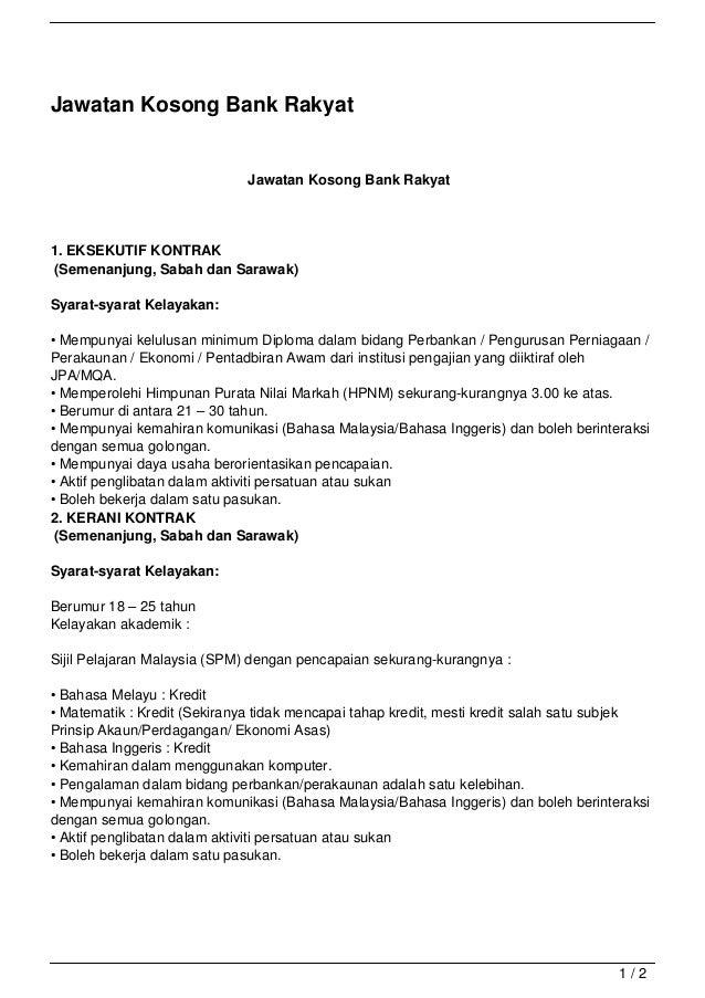 Jawatan Kosong Bank Rakyat                             Jawatan Kosong Bank Rakyat1. EKSEKUTIF KONTRAK(Semenanjung, Sabah d...