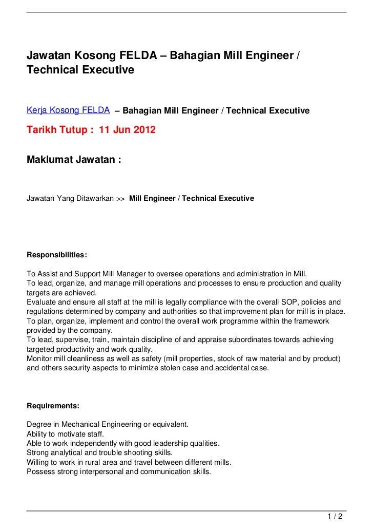 Jawatan Kosong FELDA – Bahagian Mill Engineer /Technical ExecutiveKerja Kosong FELDA – Bahagian Mill Engineer / Technical ...