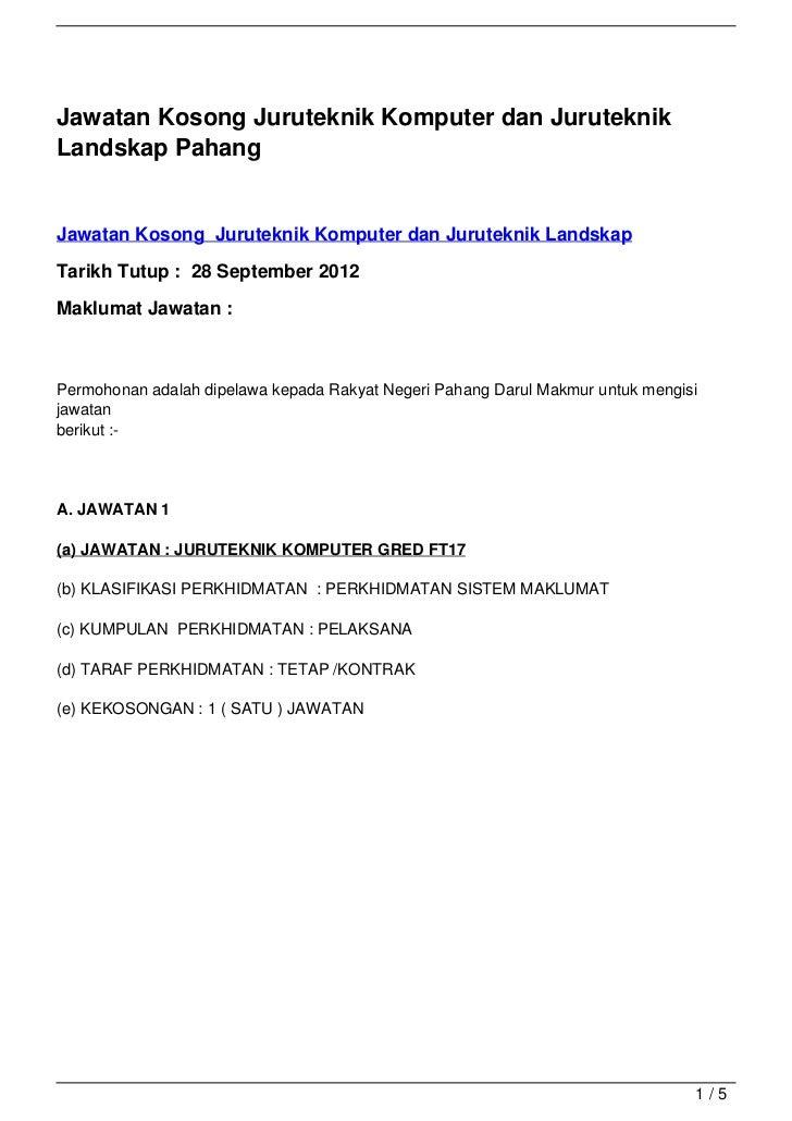 Jawatan Kosong Juruteknik Komputer dan Juruteknik Landskap Pahang