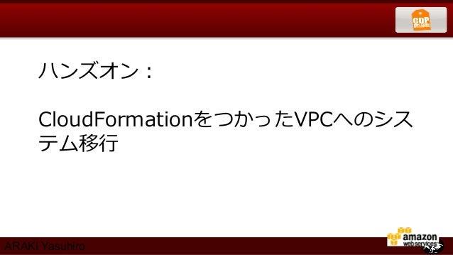 ハンズオン:     CloudFormationをつかったVPCへのシス     テム移⾏行行ARAKI Yasuhiro
