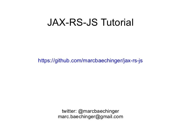Jax-rs-js Tutorial