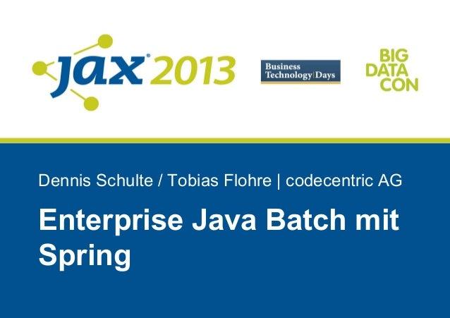 Enterprise Java Batch mit Spring