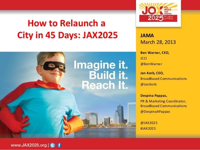 How to Relaunch aCity in 45 Days: JAX2025   JAMA                           March 28, 2013                           Ben Wa...