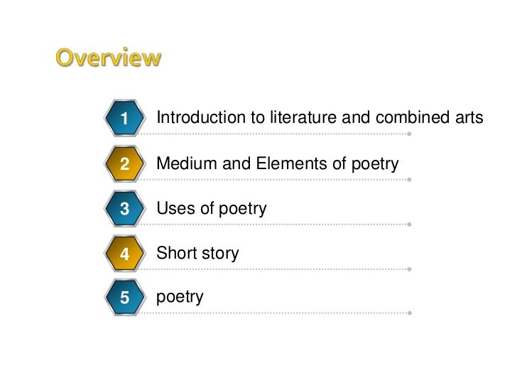 Introduction to literature and combined arts<br />1<br />Medium and Elements of poetry<br />2<br />Uses of poetry<br />poe...