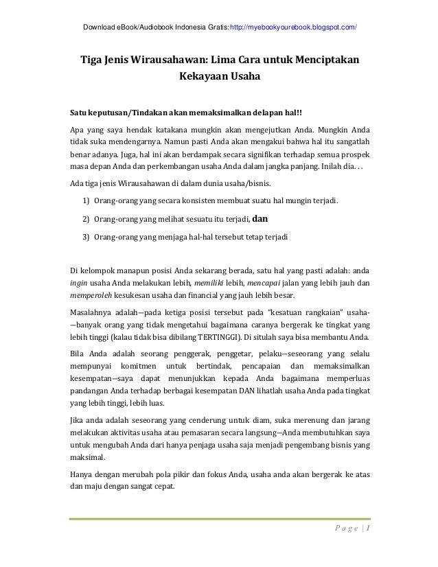 Download eBook/Audiobook Indonesia Gratis: http://myebookyourebook.blogspot.com/   Tiga Jenis Wirausahawan: Lima Cara untu...