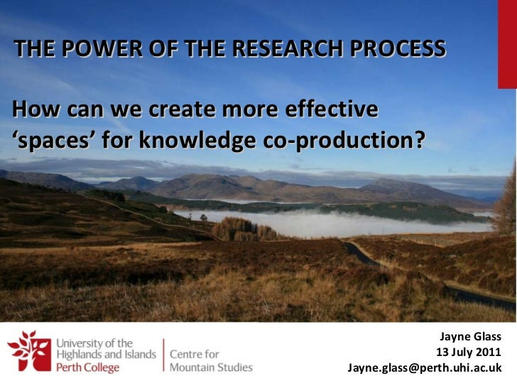 Jayne Glass Knowledge Coproduction Seminar July 2011