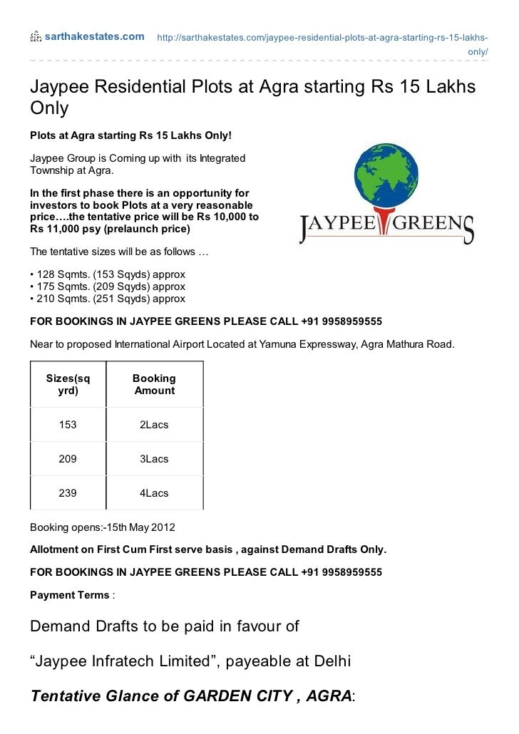 Jaypee residential plots_agra_rs_15_lakhs_call_09958959555