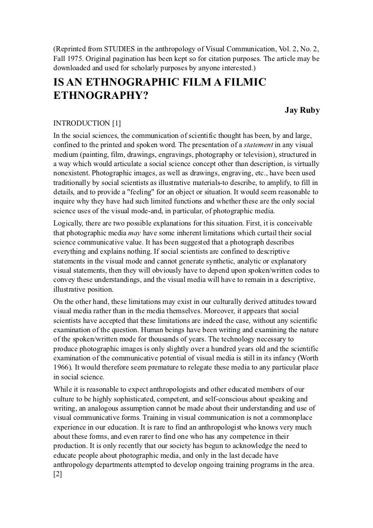 (Reprinted from STUDIES in the anthropology of Visual Communication, Vol. 2, No. 2,Fall 1975. Original pagination has been...