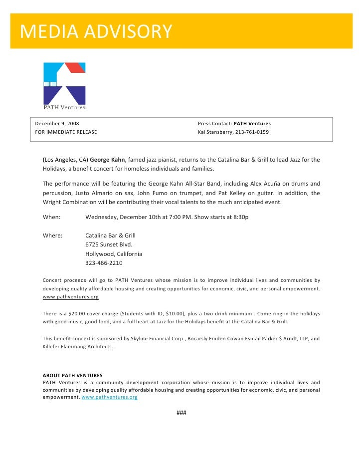 MEDIA ADVISORY     December 9, 2008                                                 Press Contact: PATH Ventures  FOR IMME...