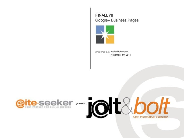 Google Plus Business Pages; Jolt & Bolt 11_10_2011