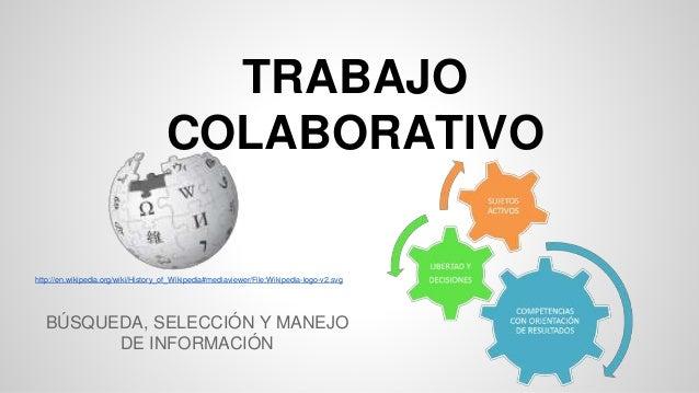 TRABAJO  COLABORATIVO  http://en.wikipedia.org/wiki/History_of_Wikipedia#mediaviewer/File:Wikipedia-logo-v2.svg  BÚSQUEDA,...
