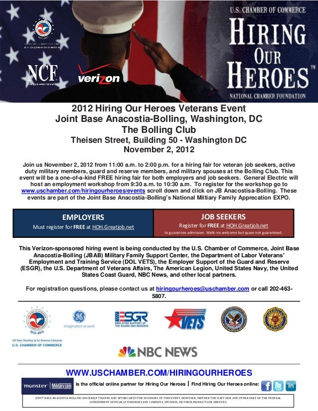 2012 Hiring Our Heroes Veterans Event                  Joint Base Anacostia-Bolling, Washington, DC                       ...