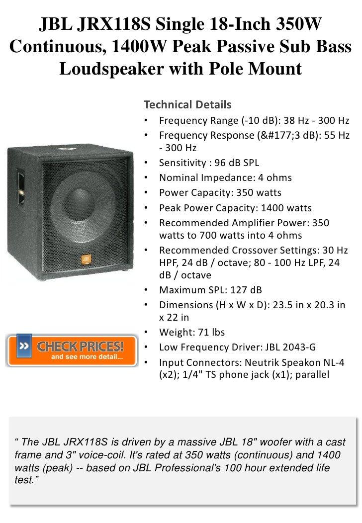 JBL JRX118S Single 18-Inch 350W Continuous, 1400W Peak Passive Sub Bass      Loudspeaker with Pole Mount                  ...