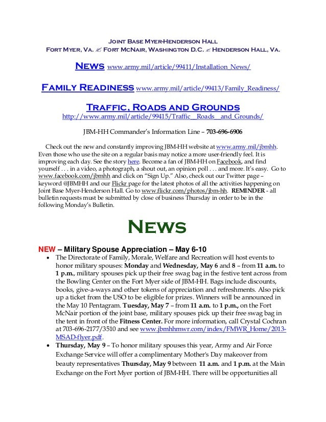 Joint Base Myer-Henderson HallFort Myer, Va.  Fort McNair, Washington D.C.  Henderson Hall, Va.News www.army.mil/article...