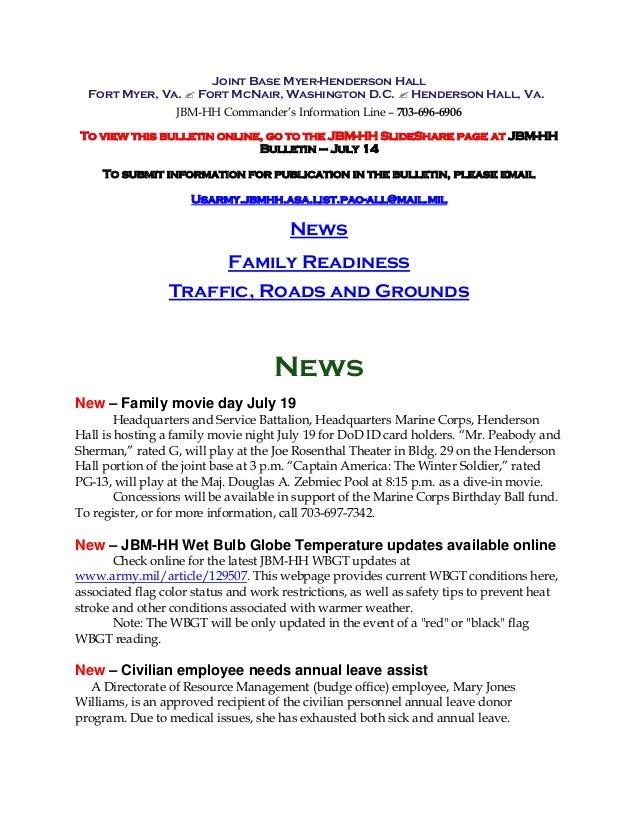 JBM-HH Bulletin July 14, 2014