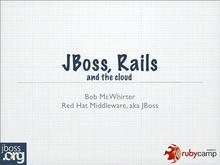 JBoss, cloud   and the           Rails       Bob McWhirter Red Hat Middleware, aka JBoss