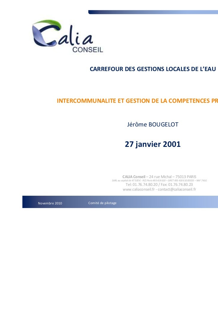 CARREFOUR DES GESTIONS LOCALES DE L'EAU          INTERCOMMUNALITE ET GESTION DE LA COMPETENCES PRODUCTION                 ...