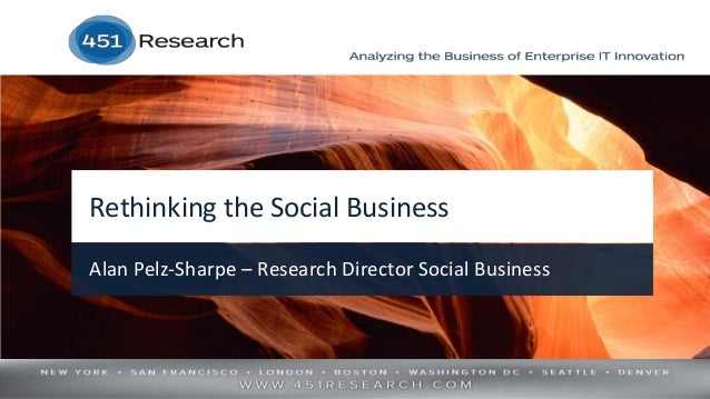 Rethinking the Social Business Alan Pelz-Sharpe – Research Director Social Business