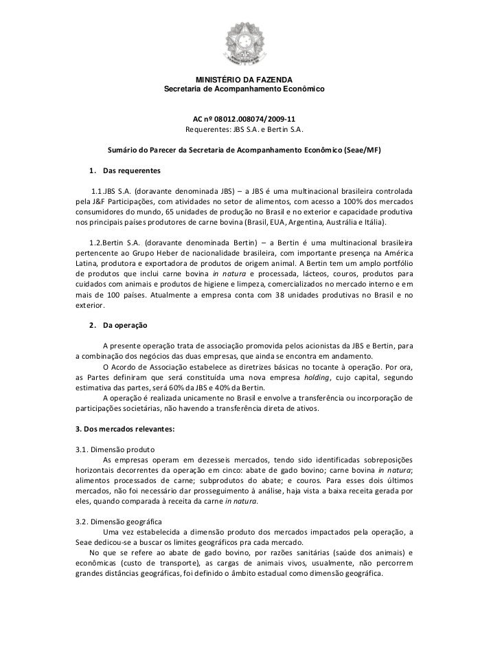 MINISTÉRIO DA FAZENDA                         Secretaria de Acompanhamento Econômico                                 AC nº...