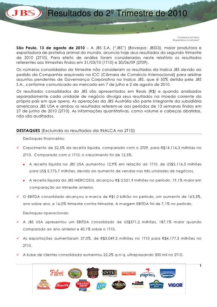 """Resultados do 2º Trimestre de 2010                                                                                       """"..."""