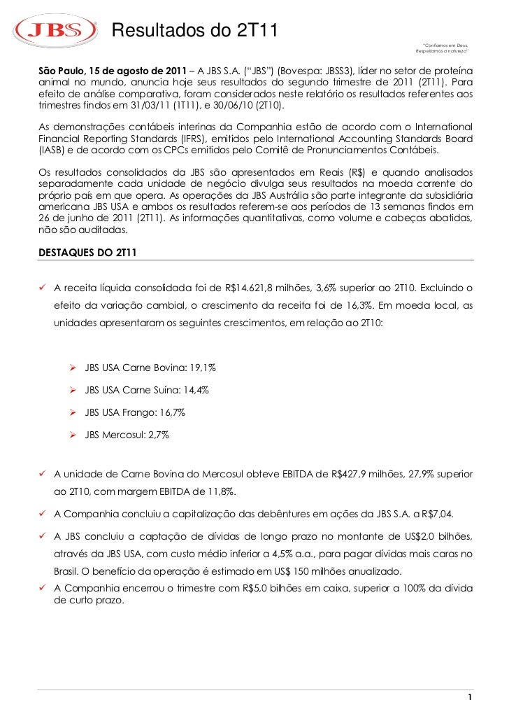 JBS - resultados do 2º trimestre de 2011