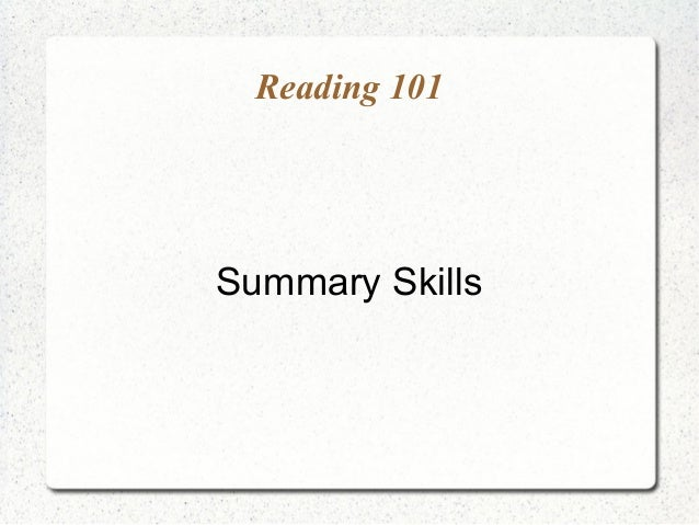 LL JC A - Summary skills & strategies