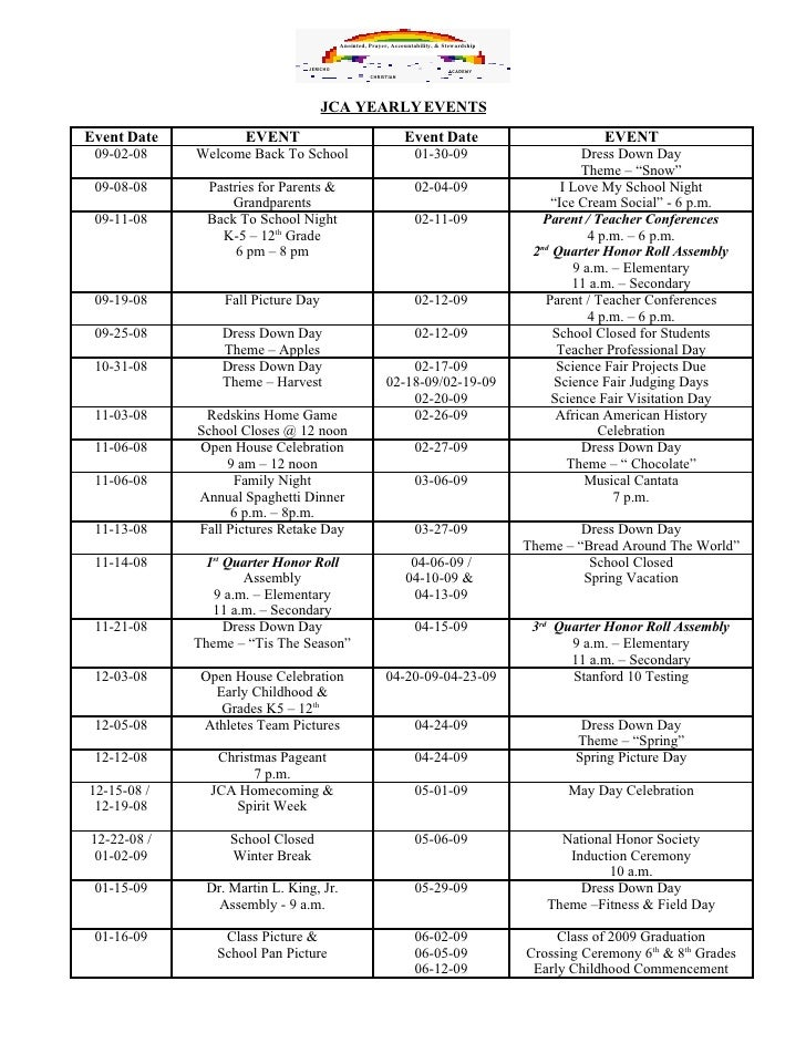 JCA Yearly Events Calendar 08-09