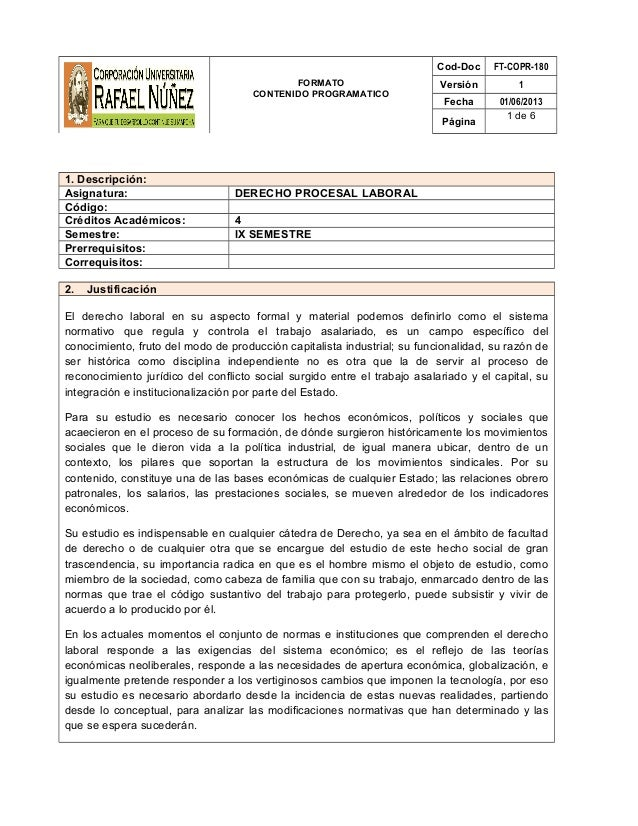 FORMATO CONTENIDO PROGRAMATICO Cod-Doc FT-COPR-180 Versión 1 Fecha 01/06/2013 Página 1 de 6 1. Descripción: Asignatura: DE...