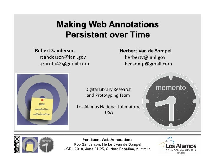 Making Web Annotations Persistent over Time