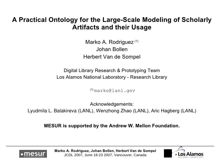 A Practical Ontology for the Large-Scale Modeling of Scholarly Artifacts and their Usage