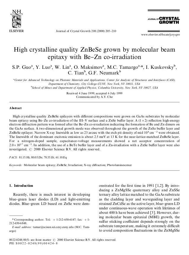 Journal of Crystal Growth 208 (2000) 205}210   High crystalline quality ZnBeSe grown by molecular beam               epita...