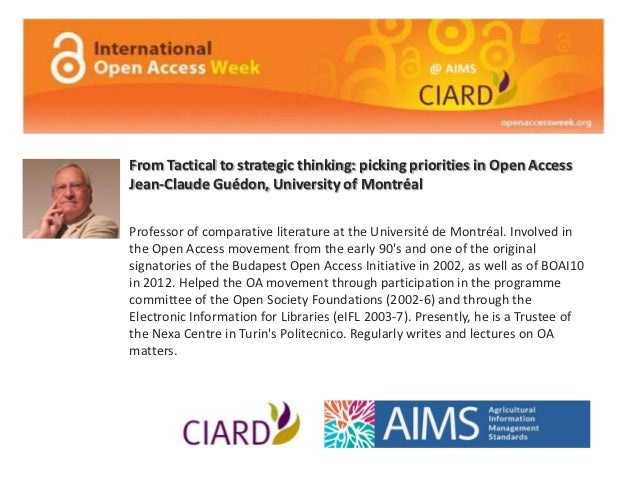 From Tactical to strategic thinking: picking priorities in Open Access