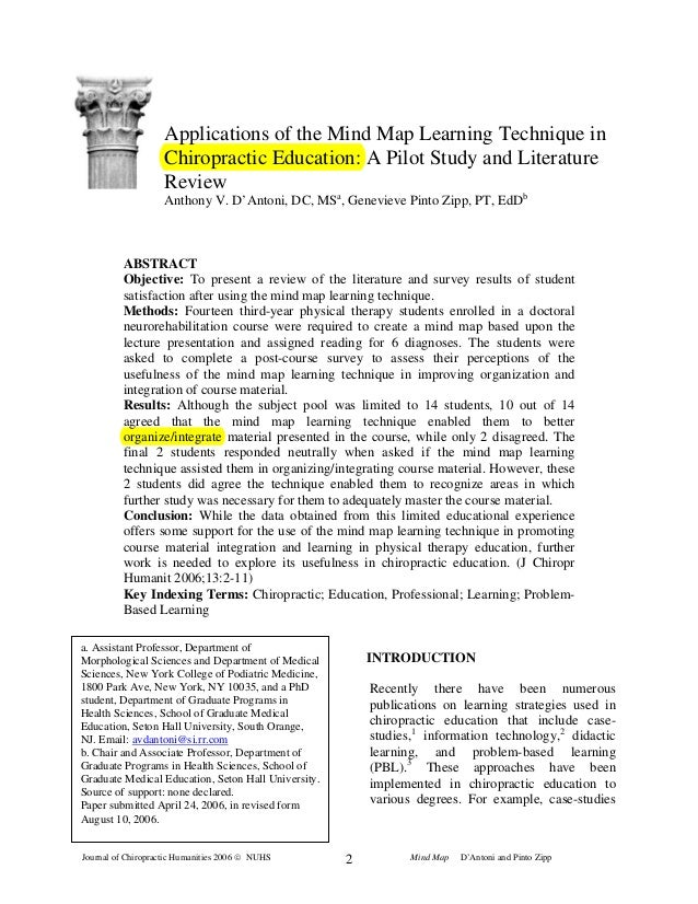 Journal of Chiropractic Humanities 2006 © NUHS Mind Map D'Antoni and Pinto Zipp2 Applications of the Mind Map Learning Tec...