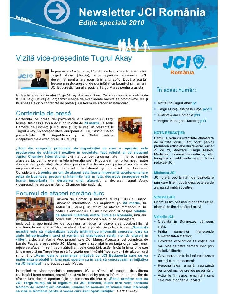 Newsletter JCI România                                           Ediţie specială 2010     Vizită vice-preşedinte Tugrul Ak...