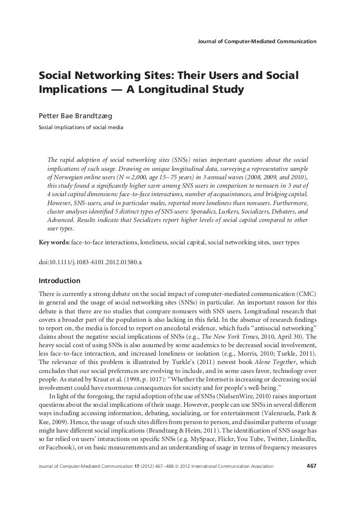 Journal of Computer-Mediated CommunicationSocial Networking Sites: Their Users and SocialImplications — A Longitudinal Stu...
