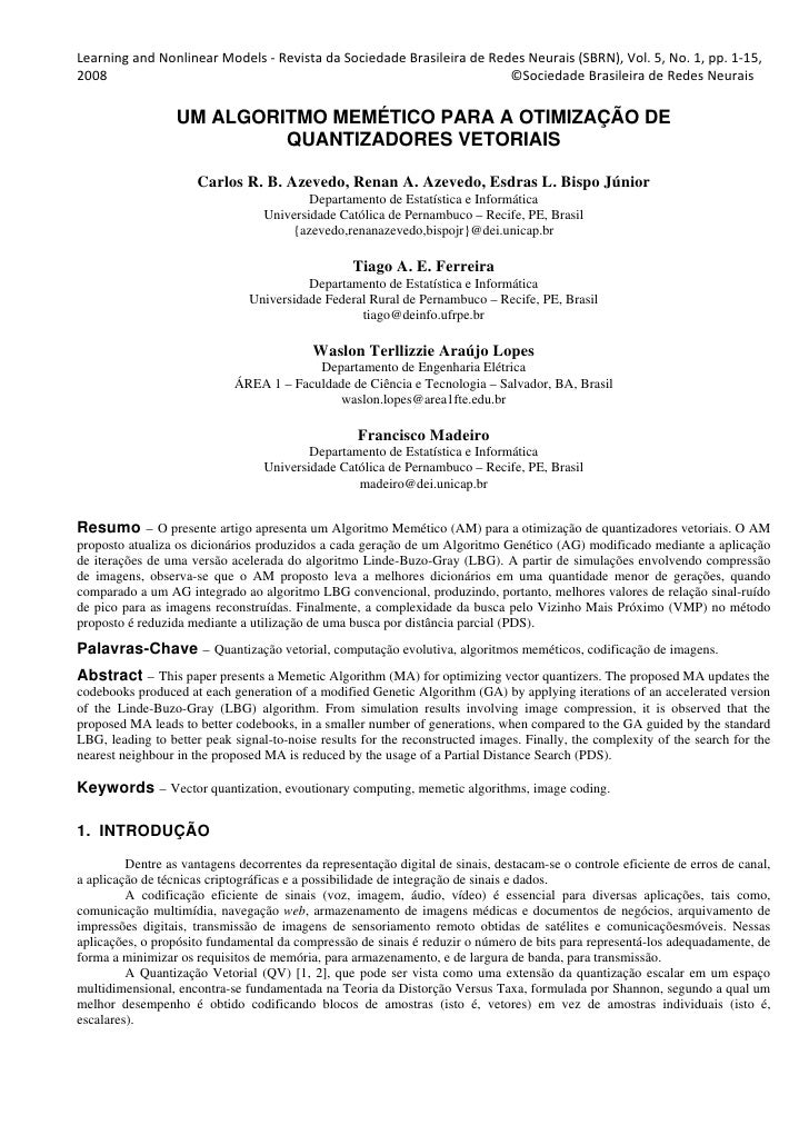 Learning and Nonlinear Models ‐ Revista da Sociedade Brasileira de Redes Neurais (SBRN), Vol. 5, No. 1, pp. 1‐15,  2008   ...
