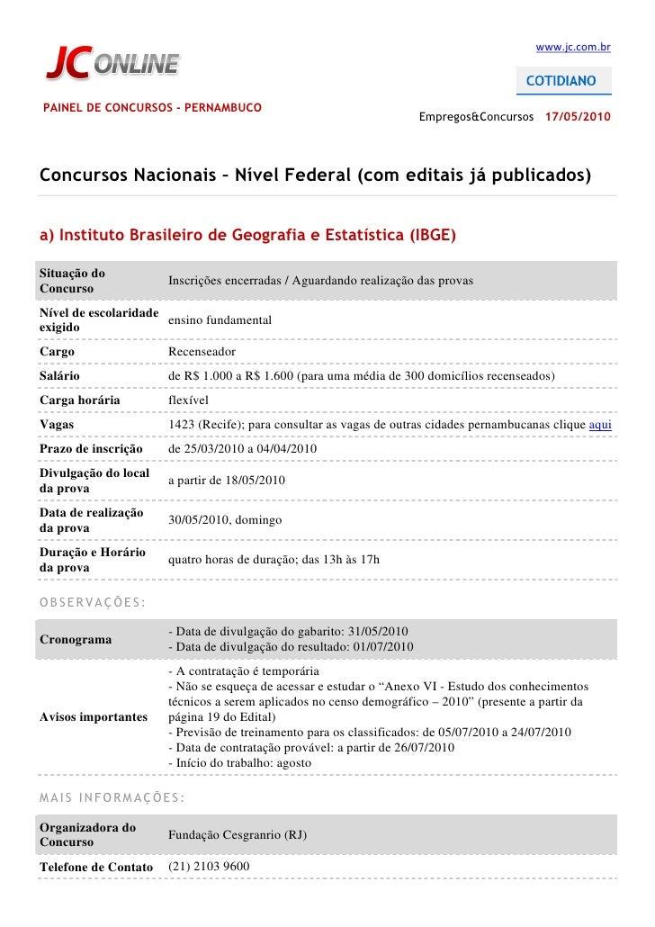 www.jc.com.br     PAINEL DE CONCURSOS - PERNAMBUCO                                                                       E...