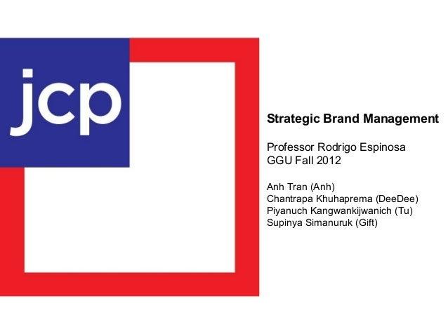 Strategic Brand Management Professor Rodrigo Espinosa GGU Fall 2012 Anh Tran (Anh) Chantrapa Khuhaprema (DeeDee) Piyanuch ...