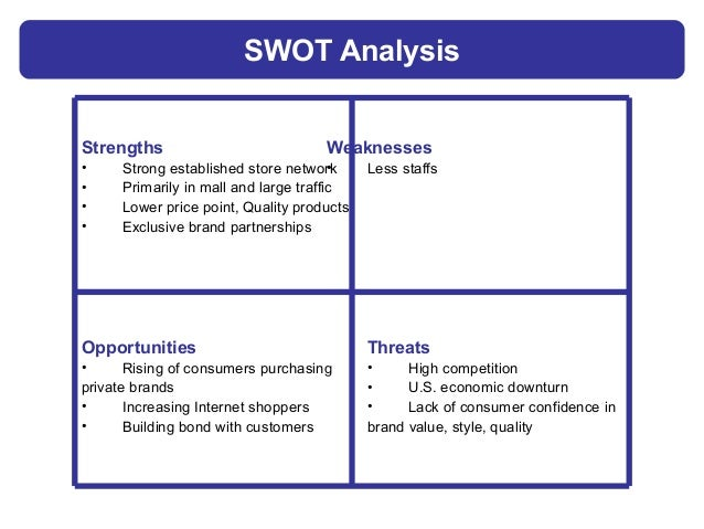 department store swot Lack of training in how to use in-store kiosk no training for how to check inventory a user generated analysis.