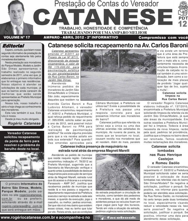 TRABALHANDO POR UMA AMPARO MELHOR  VOLUME Nº 17                         AMPARO - ABRIL 2012 - 2º INFORMATIVO              ...