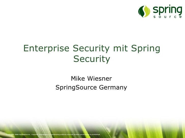 Enterprise Security mit Spring Security