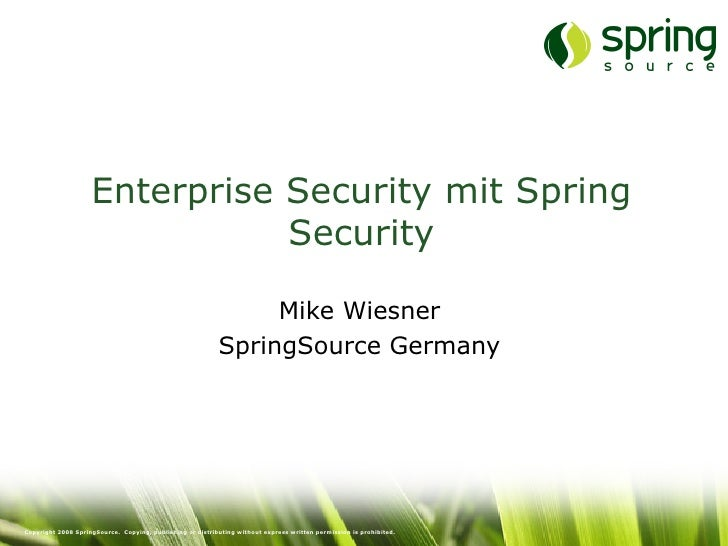 Enterprise Security mit Spring Security