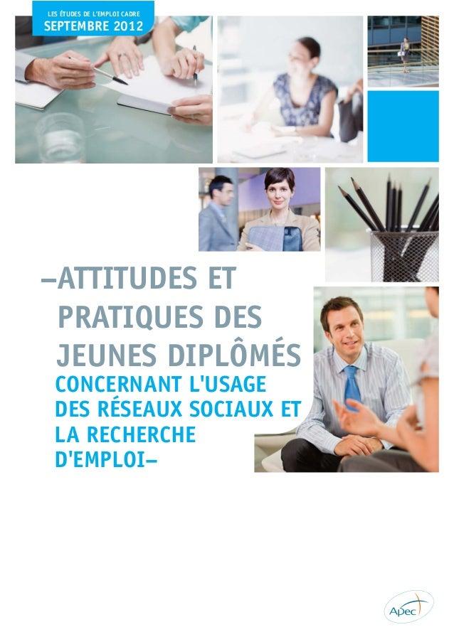 Attitudes et pratiques des jeunes diplômés concernant l'usage des réseaux sociaux et la recherche d'emploi
