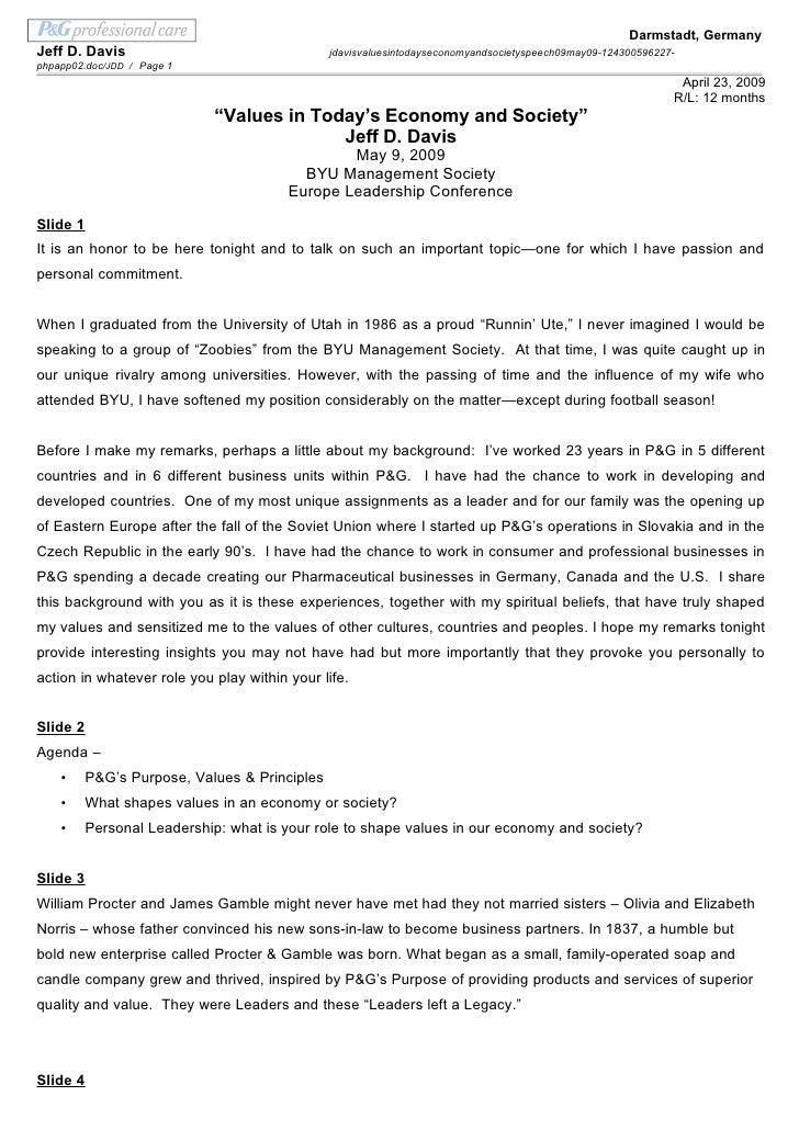 J. Davis Values In Todays Economy And Society Speech 09 May09